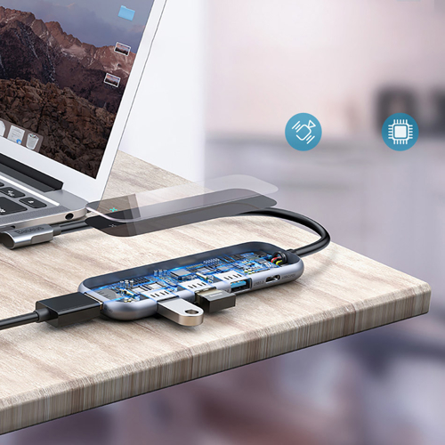 Baseus Multi-functional HUB Type-C to 3xUSB 3.0+4K/HD+PD Adapter for MacBook / PC Dark Grey (CAHUB-BZ0G)