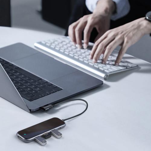 Baseus Multi-functional HUB Type-C to 3xUSB 3.0+4K/HD+PD Adapter for MacBook / PC Dark Grey (CAHUB-BZ0G)