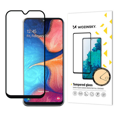 Wozinsky Tempered Glass Full Glue Super Tough Screen Protector Full Coveraged with Frame Case Friendly for Samsung Galaxy A20e black