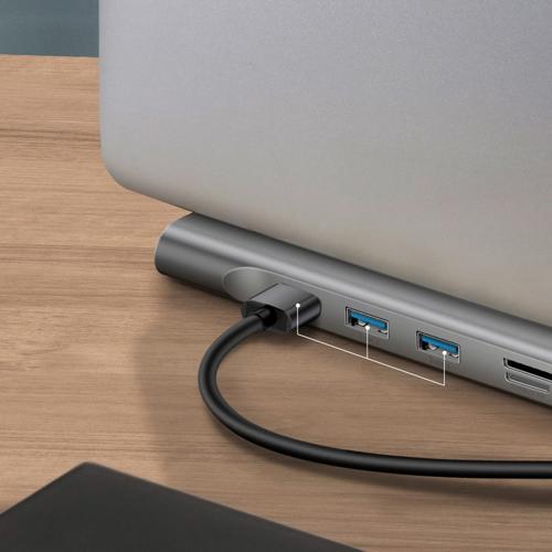 Baseus Enjoyment Laptopständer Adapter HUB USB Typ C PD / VGA / HDMI / RJ45 / USB 3.0 / SD Kartenleser Micro SD für MacBook / PC grau (CATSX-G0G)