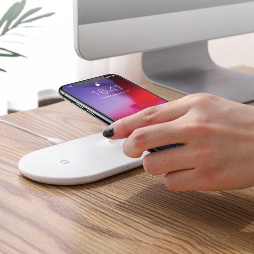Baseus Smart 2in1 Wireless Charger Charger Schnellladegerät QI Induktive Schnellladestation für Smartphones und Apple Watch weiss (WX2IN1-02) B-Ware