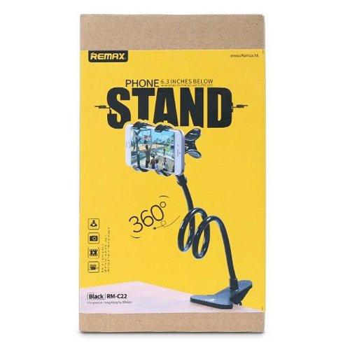 Remax Lazy Stand RM-C22 uniwersalny uchwyt z klipsem na telefon czarny
